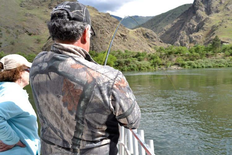 Fish on in hells canyon sturgeon